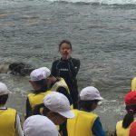佐津・無南垣海岸で開催した磯観察が波と風で急遽漂着物観察会に変更!