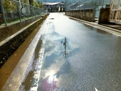 雨上がりの道