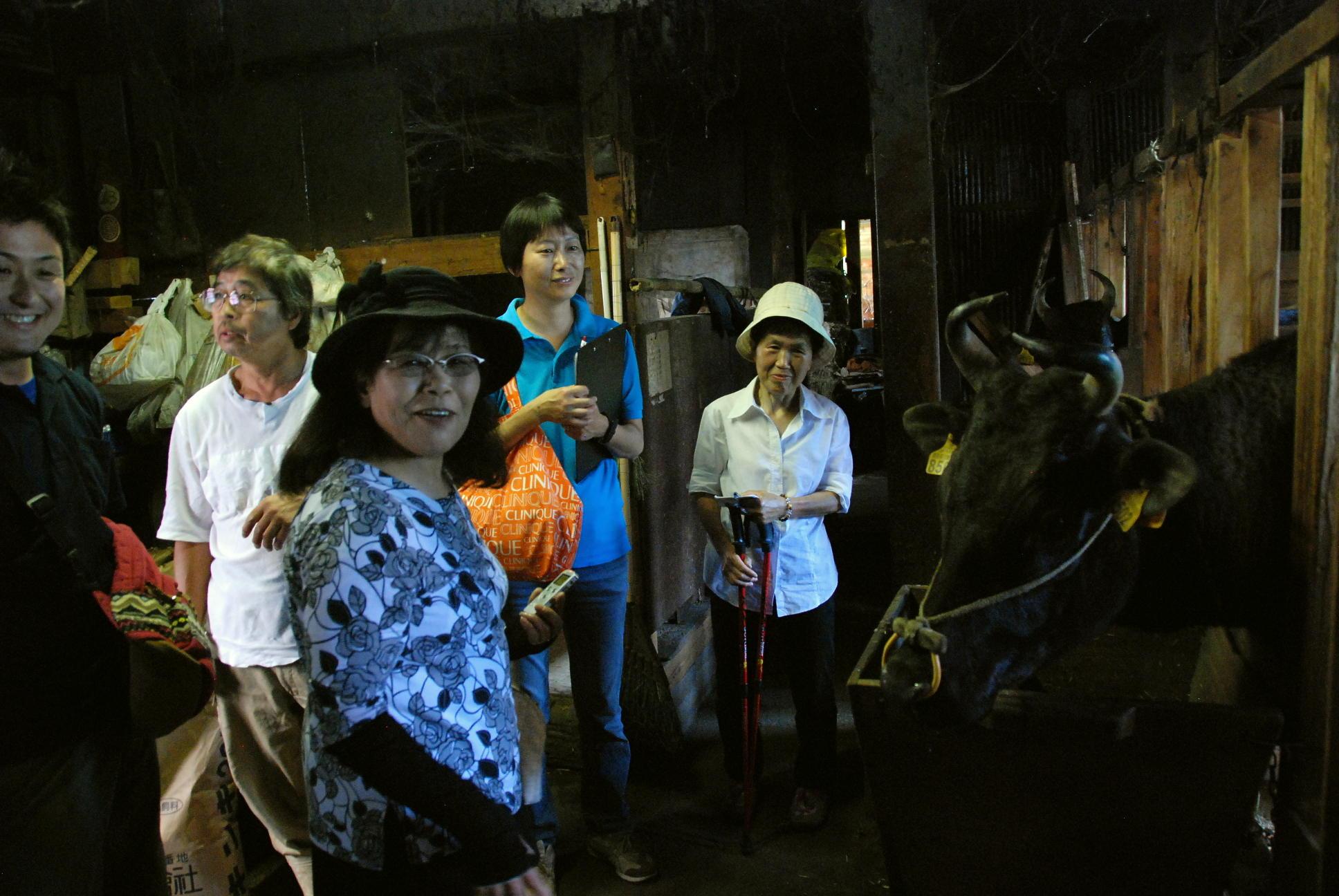 小代まちあるきガイドの見どころ「畜舎見学」「田尻松蔵さんの生家」
