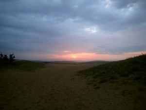 鳥取砂丘からの夕陽