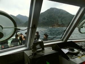 実習船の操船室からの風景