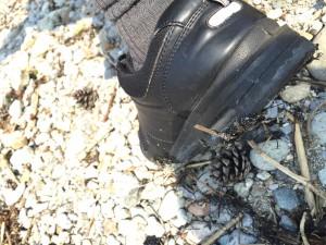 靴裏についた廃油ボール