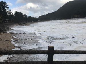 砂浜を覆う波