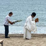 昨日、香住海岸内の海水浴場の安全祈願ご神事を佐津海水浴場にて行いました