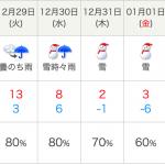 年末年始には大雪、寒波予報が出ています(2020年12月22日時点)