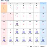 1日3組様に制限している8月度の空室状況について