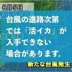 【活イカのつくプランでご予約の方へ】台風の進路次第で活イカの入手が厳しくなる場合がございます。