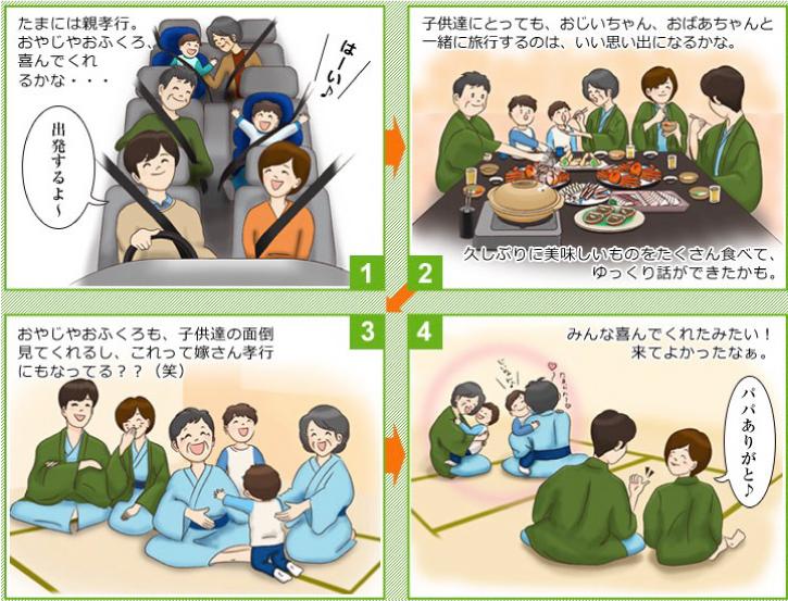 民宿美味し宿かどや 三世代旅行 漫画